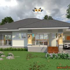Casas multifamiliares de estilo  por แบบบ้านออกแบบบ้านเชียงใหม่, Tropical Concreto