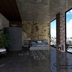 SKY İç Mimarlık & Mimarlık Tasarım Stüdyosu – Bodrum Villa Projesi:  tarz Yatak Odası
