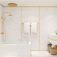 Pequeno, grande apartamento Estoril: Casas de banho  por Inêz Fino Interiors, LDA