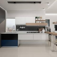 Diseño y decoración de apartamento nuevo: Cocinas equipadas de estilo  por Cindy Castañeda