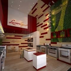 Local comercial a la calle Galerías y espacios comerciales de estilo moderno de Faerman Stands y Asoc S.R.L. - Arquitectos - Rosario Moderno Madera Acabado en madera