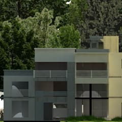 fachada : Casas campestres de estilo  por OBS DISEÑO & CONSTRUCCION.