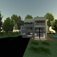 CUBO house: Casas campestres de estilo  por OBS DISEÑO & CONSTRUCCION.