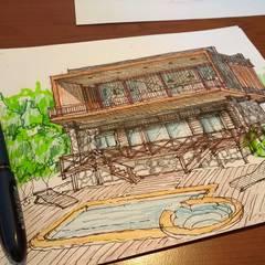 Diseño Cabaña - Lago Colbún: Casas de campo de estilo  por eco cero