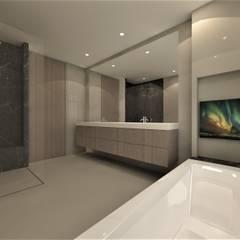 Ontwerp nieuwbouw woning Amersfoort:  Badkamer door Studio DEEVIS, Modern Hout Hout