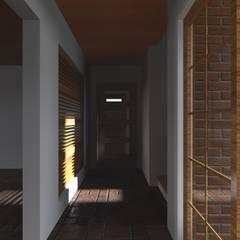 VIVIENDA RURAL - PARCELAS SANTA JULIA MELIPILLA: Pasillos y hall de entrada de estilo  por Vicente Espinoza M. - Arquitecto