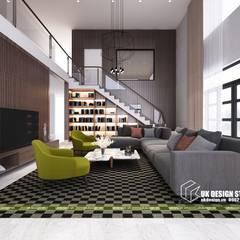 THIẾT KẾ BIỆT THỰ HIỆN ĐẠI SÂN VƯỜN 500M2:  Phòng khách by UK DESIGN STUDIO - KIẾN TRÚC UK