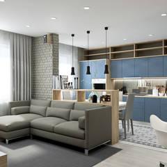 Квартира для молодой семьи в Скандинавском стиле : Гостиная в . Автор – PlatFORM,