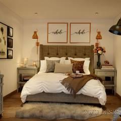 Интерьер небольшой спальни на мансарде: Спальни в . Автор – студия Design3F,