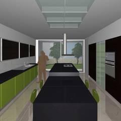 Cozinha com ilha: Armários de cozinha  por Santos Delgado Arquitectura & Design