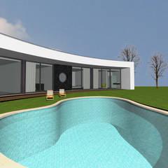 Piscina com formas orgânicas: Piscinas de jardim  por Santos Delgado Arquitectura & Design