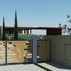 Render esterno dal cancello: Casa di campagna in stile  di Ing. Massimiliano Lusetti