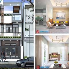 Xây dựng nhà phố 1 trệt 1 lầu sân thượng 860 triệu tại Nhà Bè.:  Nhà gia đình by Công ty TNHH Thiết Kế Xây Dựng Song Phát