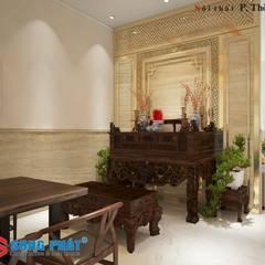 Xây Dựng Nhà Phố 1 Trệt 1 Lầu Sân Thượng 860 Triệu Tại Nhà Bè:  Phòng khách by Công ty TNHH Thiết Kế Xây Dựng Song Phát