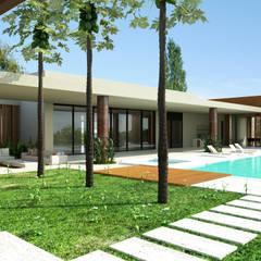 Casa Conjunto residencial Las Victorias / Ibagué - Colombia: Piscinas de jardín de estilo  por Taller 3M Arquitectura & Construcción, Minimalista Concreto