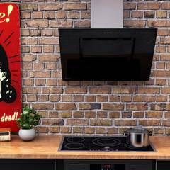 Męska kuchnia z czerwoną cegłą w roli głównej: styl , w kategorii Kuchnia zaprojektowany przez GLOBALO MAX