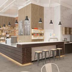 Интерьер кафе Французский Пекарь в БЦ Клевер парк: Рабочие кабинеты в . Автор – Дизайн Студия 33