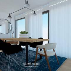 Sala de jantar em estilo nórdico minimalista: Salas de jantar  por Paloma Agüero Design
