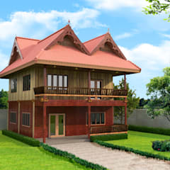 Casas de madera de estilo  por บริษัท พี นัมเบอร์วัน ดีไซน์ แอนด์ คอนสตรัคชั่น จำกัด