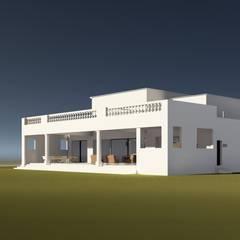 CASA COLINA_ Huechuraba _ Casa Neoclásica: Parcelas de agrado de estilo  por BIM Urbano, Clásico Ladrillos