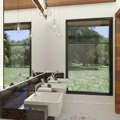 Salão de eventos em Haras do interior paulista Banheiros rústicos por Daniela Ponsoni Arquitetura Rústico