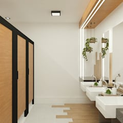 Banheiro coletivo feminino: Banheiros  por Daniela Ponsoni Arquitetura