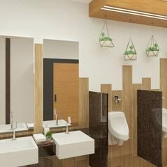 Banheiro coletivo masculino: Banheiros  por Daniela Ponsoni Arquitetura