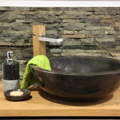 Black stone vessel sink:  Bathroom by Lux4home™ Indonesia