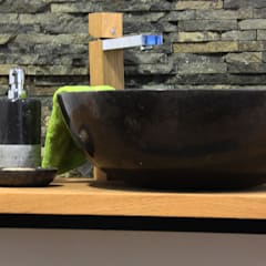 Black stone vessel sinks:  Bathroom by Lux4home™ Indonesia