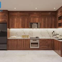 Nội thất phòng bếp với hệ thống tủ bếp hình chữ L:  Phòng ăn by Công ty TNHH Nội Thất Mạnh Hệ