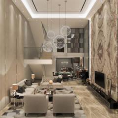 Resort Style at Kew Crescent :  Living room by Singapore Carpentry Interior Design Pte Ltd,