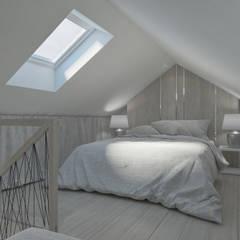 Skandynawski projekt mieszkania : styl , w kategorii Sypialnia zaprojektowany przez Lew Architekci & Archideck