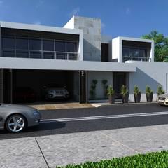 Residencia en Tijuana: Jardines en la fachada de estilo  por OLLIN ARQUITECTURA