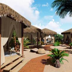 Passarela de acesso às barracas: Hotéis  por Jordana Sá Arquitetura