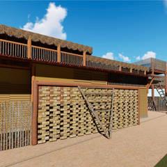 Fachada muro de tijolos vazados: Hotéis  por Jordana Sá Arquitetura