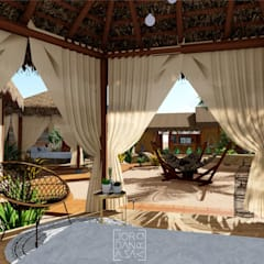 Barraca- vista interna: Hotéis  por Jordana Sá Arquitetura