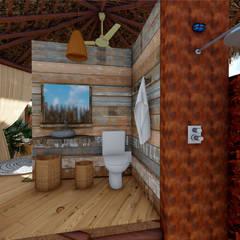Banheiro barraca: Hotéis  por Jordana Sá Arquitetura
