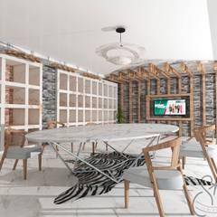 SKY İç Mimarlık & Mimarlık Tasarım Stüdyosu – İstanbul Merter'de Tekstil Firmasının  Showroom Tasarımı:  tarz Giyinme Odası