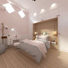 Bedroom with Cabinet:  Kamar tidur kecil by JRY Atelier