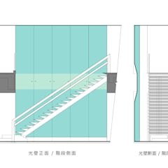 光り壁とステンレス階段: 一級建築士事務所 ネストデザインが手掛けた商業空間です。