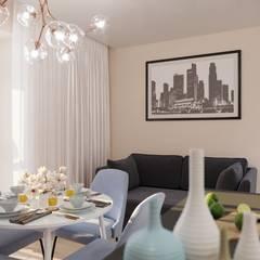 Дизайн интерьера двухкомнатной квартиры 78 кв.м. Омск.: Гостиная в . Автор – CUBE INTERIOR