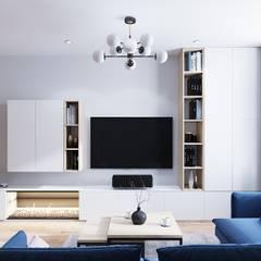 Дизайн - проект двухкомнатной квартиры 77 кв.м. Екатеринбург: Гостиная в . Автор – CUBE INTERIOR