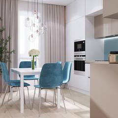 Дизайн - проект двухкомнатной квартиры 60 кв.м. Москва: Кухни в . Автор – CUBE INTERIOR