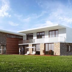 Modern houses:  Detached home by STAAC