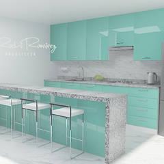 COCINA INTEGRADA EN LA PLAYA: Muebles de cocinas de estilo  por Estudio R&R,