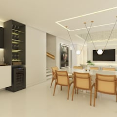 Sala de Estar|Jantar e Cozinha contato: arquitetura@beecriativa.com.br: Salas de jantar  por Bee Arquitetura Criativa