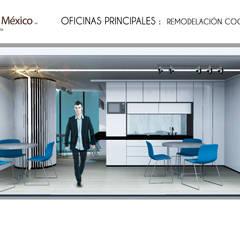 Vista frontal propuesta cocineta: Oficinas y tiendas de estilo  por Prototype studio