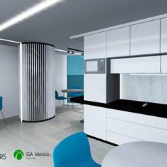 Vista interior cocina: Oficinas y tiendas de estilo  por Prototype studio