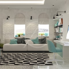Modern Bedrooms Interior Design:  Study/office by Comelite Architecture, Structure and Interior Design
