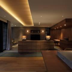 Living room by キューボデザイン建築計画設計事務所
